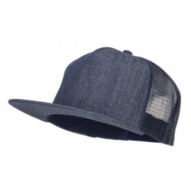 Flat Bill Snapback Trucker Cap - Denim Navy