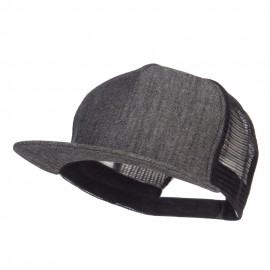 Flat Bill Snapback Trucker Cap - Denim Black