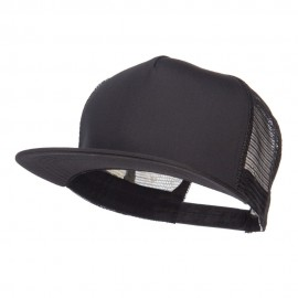 Flat Bill Snapback Trucker Cap - Black