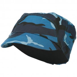 Boy's Short Brim Military Hat - Blue Camo