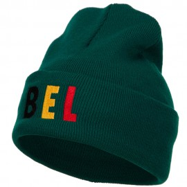 Belgium BEL Flag Embroidered Long Beanie