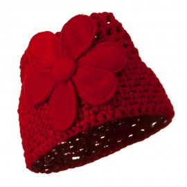Woman's Bio Polar Fleece Flower Beanie - Red