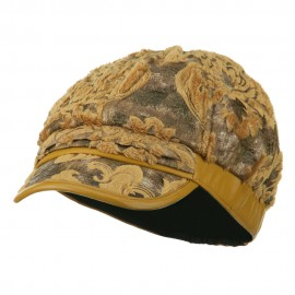 Brocade Pattern Burn Out Newsboy Cap - Gold