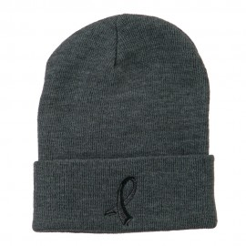 Black Ribbon Skin Cancer Embroidered Long Beanie