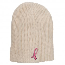 Ribbon Breast Cancer Embroidered Ribbed Oversize Beanie