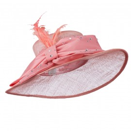Large Bow Sequin Accent Sinamay Hat