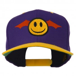 Bat Smiley Face Embroidered Snapback Cap