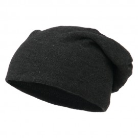 Big Size Knit Slouch Beanie - Heather Black