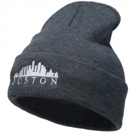 Boston Skyline Embroidered Cuffed Long Beanie