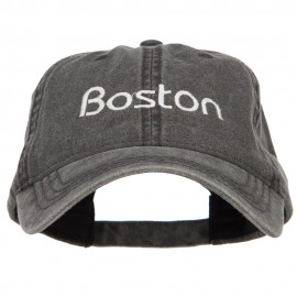 Boston Embroidered Washed Buckled Cap