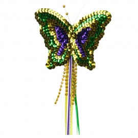 Sequin Mardi Gras Butterfly Wand