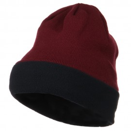 Fleece Brim Winter Knitted Beanie - Burgundy Navy