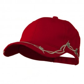 6 Panel Barbed Wire Frayed Design Cap - Red