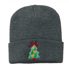 Christmas Tree Hearts Bow Embroidered Beanie