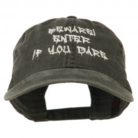 Halloween Beware Enter If You Dare Embroidered Washed Dyed Cap