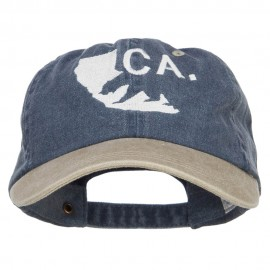 California Bear Embroidered Two Tone Washed Cap