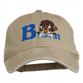 Bison Mascots Embroidered Washed Cap