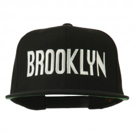Brooklyn Embroidered Wool Snapback Cap - Black