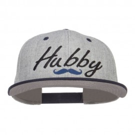 Hubby Mustache Embroidered Flat Bill Snapback - Navy Grey