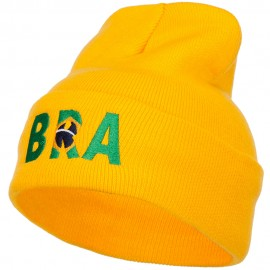 Brazil BRA Flag Embroidered Long Beanie