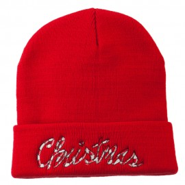 Christmas Embroidered Long Cuff Beanie
