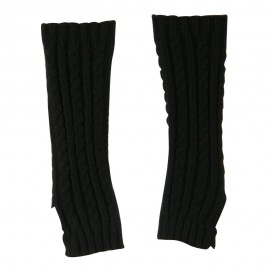 Women's Cable Knitted Arm Warmer - Black