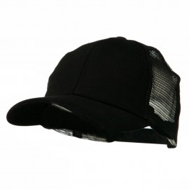 Cotton Brush Mesh Trucker Cap - Black