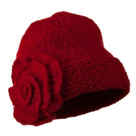 Ladies Flower Accent Cuff Beanie