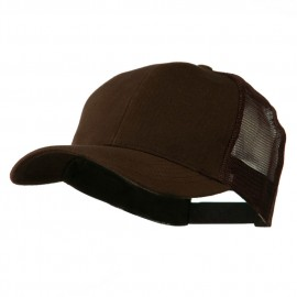 Cotton Brush Mesh Trucker Cap - Brown