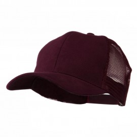 Cotton Brush Mesh Trucker Cap - Maroon