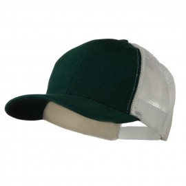 Cotton Brush Mesh Trucker Cap - Dark Green White