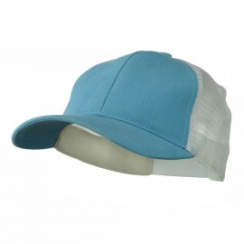 Cotton Brush Mesh Trucker Cap - Light Blue White