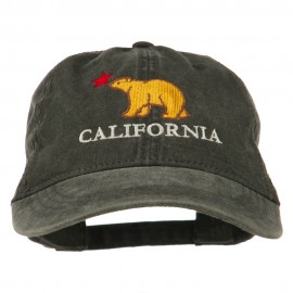 California with Bear Embroidered Washed Cap - Black