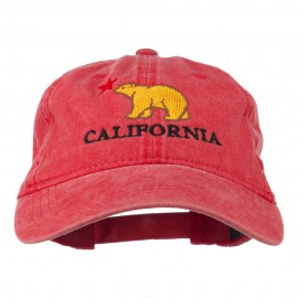 California with Bear Embroidered Washed Cap - Red