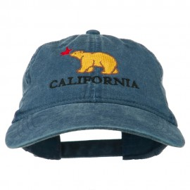 California with Bear Embroidered Washed Cap - Navy