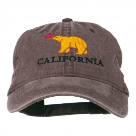 California with Bear Embroidered Washed Cap
