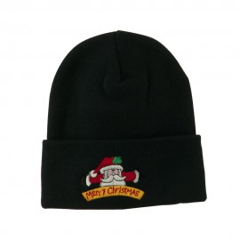 Merry Christmas Santa Claus Embroidered Beanie
