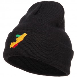 Congo Flag Map Embroidered Long Beanie