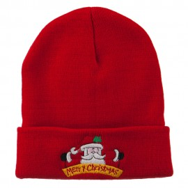Merry Christmas Santa Claus Embroidered Beanie - Red