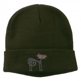 Black Cat Embroidered Long Beanie
