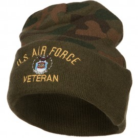 US Air Force Veteran Military Embroidered Camo Knit Long Beanie
