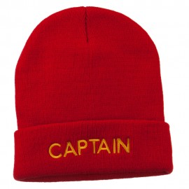Captain Embroidered Cuff Long Beanie