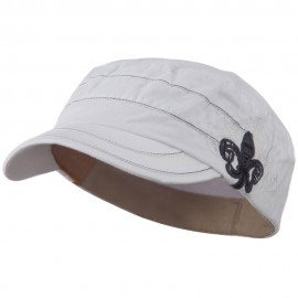 Checkered Flower Army Cap - White