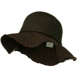 Chenille Hat with Frayed Brim - Brown