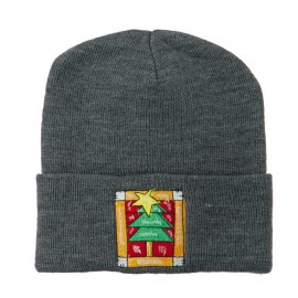 Christmas Tree with Frame Embroidered Beanie