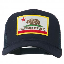California State Flag Patched Twill Mesh Cap - Navy