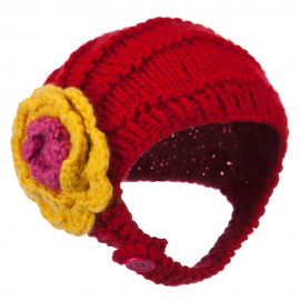 Girl's Flower Detail Chin Ski Beanie