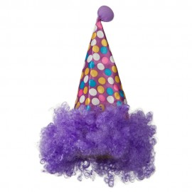 Clown Hat with Hair - Purple