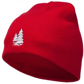 Christmas Snow Trees Embroidered Short Beanie