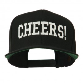 Cheers Embroidered Snapback Cap - Black